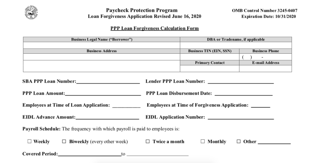SBA Form 3508 for PPP loan forgiveness